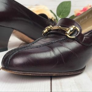 Gucci Horsebit Leather Mid-Heel Pump Mahogany 7.5